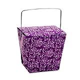 12ea Purple Damask Take Out Box 4 X 3-1/2' X 4 Width 3 1/2'
