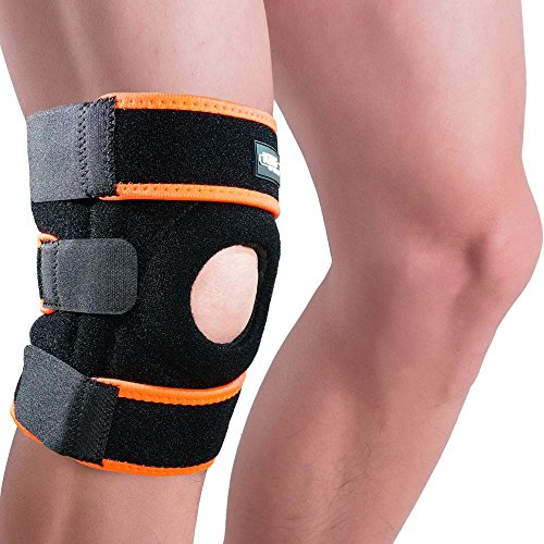 Knee Brace Support Sleeve for Arthritis, Meniscus Tear, ACL, Running, Basketball, Sports, Athletic, MCL, Runners - Adjustable Open Patella Stabilizer Protector to Relieve Pain (Orange)
