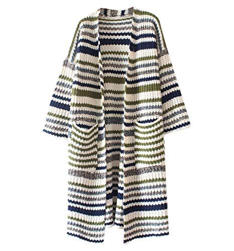 Autunno Maglieria Maglioni Tasche Pullover A Size Color Di Lunga Pullover marca Comodo Giacca Moda Anteriori One Donna Maglia Elegante Moda Mode di Lunga Manica 2 Size Stripe Stil 5YnUR0wx