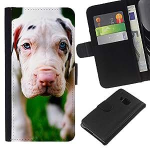 eJoy---La carpeta del tirón la caja de cuero de alta calidad de la PU Caso protector - HTC One M7 - --Dog Puppy Great Dane Cute