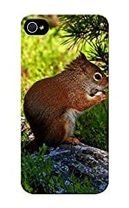 Fireingrass Durable Protein Red Stone Squirrel Back Case/ Cover For Iphone 5/5s For Christmas