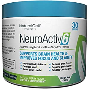 NeuroActiv6 – Nootropic Superfood Supplement – Improve Memory, Boost Focus, Enhance Clarity, Support Mood. Caffeine-Free Cognitive Brain Energy with Citicoline, Coffee Fruit Extract & Ashwagandha