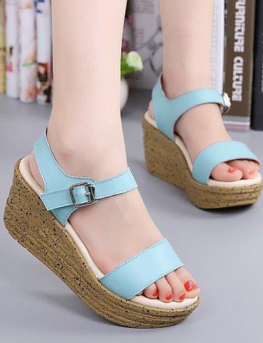 LFNLYX Zapatos de mujer-Tacón Cuña-Cuñas / Creepers-Sandalias-Vestido / Casual-Cuero-Azul / Rosa Light Blue