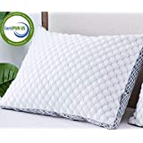 LIANLAM Memory Foam King Size Bed Pillow - Adjustable Loft for Sleeping Relief Neck Pain Side Back and Stomach - Breathable Shredded Cooling Gel Fill Luxury Bamboo Pillow - Hypoallergenic Certipur