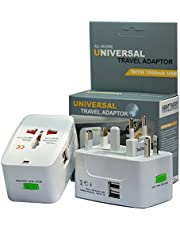 Travel Adapter, Worldwide All in One Universal Power Converters Wall AC Power Plug Adapter Power Plug Wall Charger with Dual USB Charging Ports for USA EU UK AUS Over 150 Countries Cell Phone Laptop