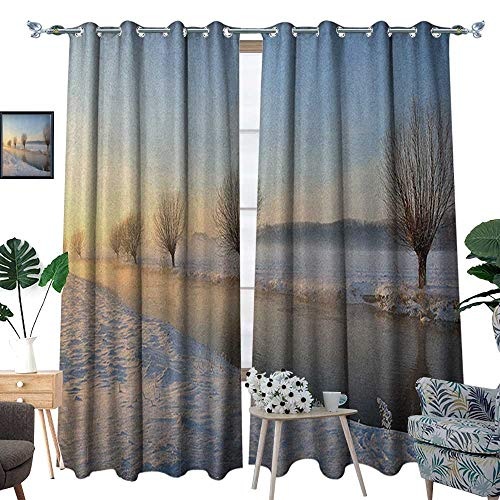 Warm Family Winter Patterned Drape for Glass Door Snowy River Landscape Barren and Frosted Trees Dutch Netherlands Europe Photograph Waterproof Window Curtain W96 x L84 Multicolor