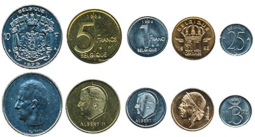 Belgium 5 Coins Set 1956-2001 UNC 25 CENTIMES - 10 FRANCS. Collectible Coins to Your Coins Album, Coin Holders OR Coin Collection (Franc Coin)