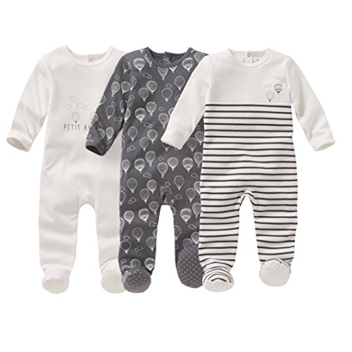 La Redoute Collections Little Boys Pack Of 3 Printed Cotton Sleepsuits, Birth-3 Years Grey Size 12 Months - 29 In.