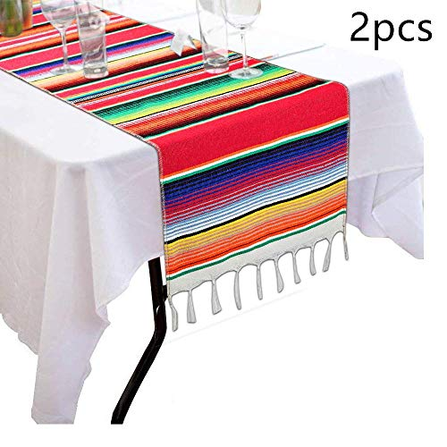 2 Pack 14 by 84 Inch Mexican Table Runner 14 x 84 inch Mexican Party Wedding Decorations, Fringe Cotton Serape Blanket Table Runner(red