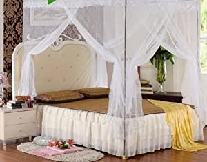 White four corner bed canopy mosquito net bed - Canopy bed ideas for adults ...
