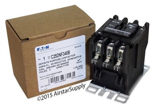 Eaton / Cutler Hammer C25DNF340B 50mm DP Contactor , 3-Pole , 40 Amp , 240 VAC Coil (Press Vac Breaker)