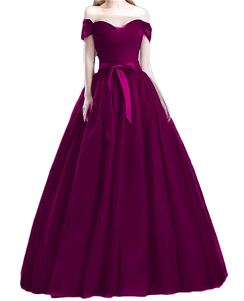 Grape XKYU Women's Off The Shoulder Prom Evening Party Dresses Tulle Long Formal Ball Gowns