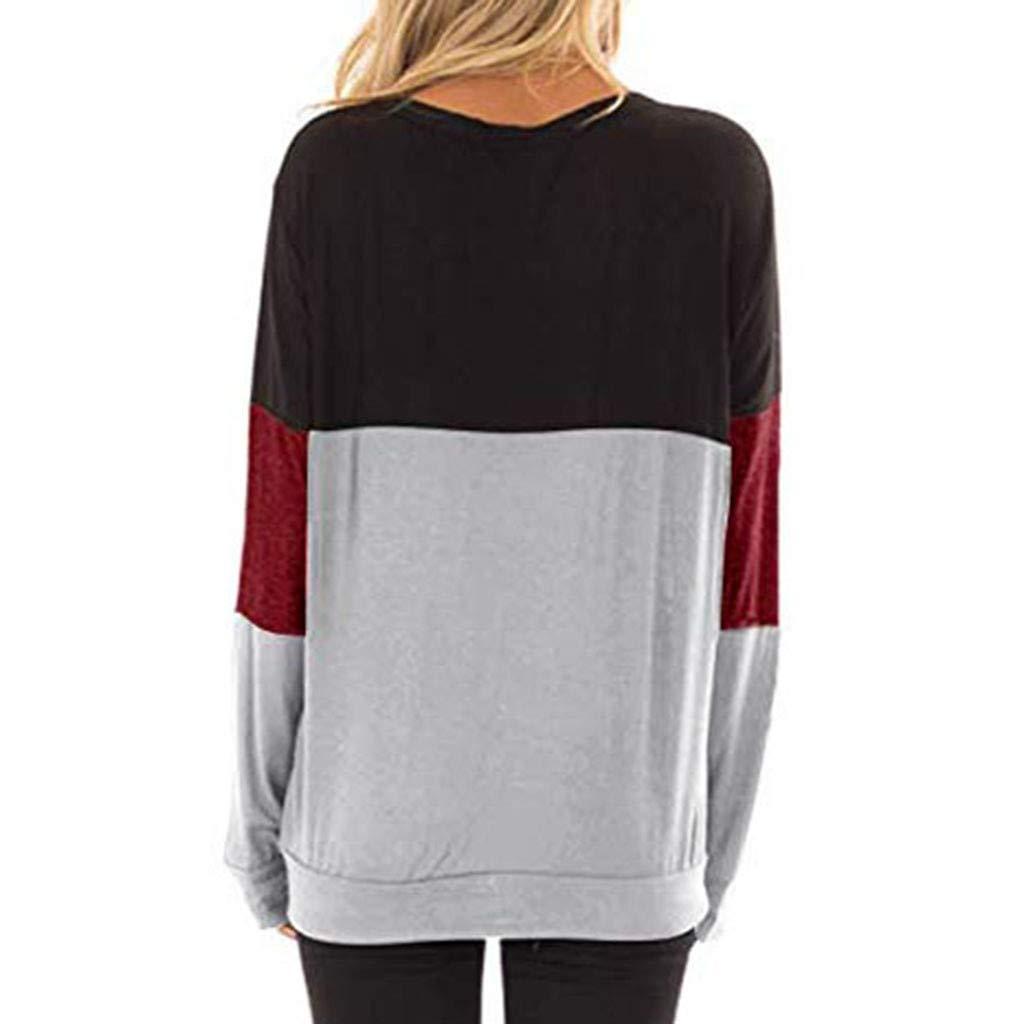 Amazon.com: AOJIAN Blouse Women Long Sleeve T Shirt Hollow Out Color Block Tunic Tank Shirts Tops: Clothing