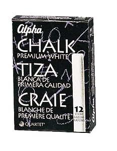 Quartet Alpha Chalk, 5/8-inch Diameter, White, Pack of 12 Sticks (313007)