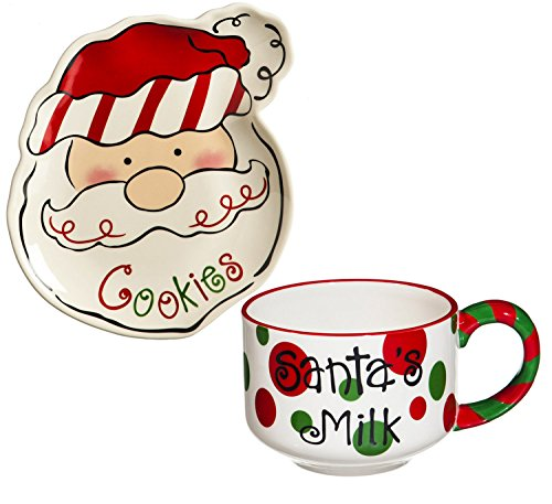 Cypress Home Sculpted Ceramic Cookies for Santa Plate and Mug Set
