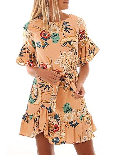 Jevole Womens Ruffle Sleeve Floral Printed Loose Ruffled Hem Short Dress(Apricot,XXL)