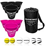 BucketBall - Team Color Edition - Combo Pack (Black/Pink): Original Yard Pong Game: Best Camping, Beach, Lawn, Outdoor, Family, Adult, Tailgate Game