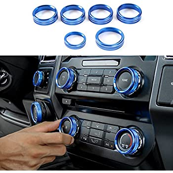 3pcs Aluminum Headlight Volume Tune Control Knob Cover Ring Trim Interior Accessories for Ford Mustang 2015-2020 (Blue)