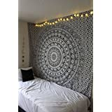 Handicrunch Large Black and White Tapestries Elephant Mandala Hippie Tapestry Indian Traditional Throw Beach Throw Wall Art College Dorm Bohemian Wall Hanging Boho Queen Bedspread