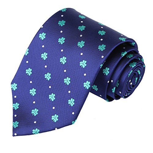 KissTies Shamrock 63'' XL Extra Long Tie Navy Blue Necktie + Gift (St Patrick's Day Ties)