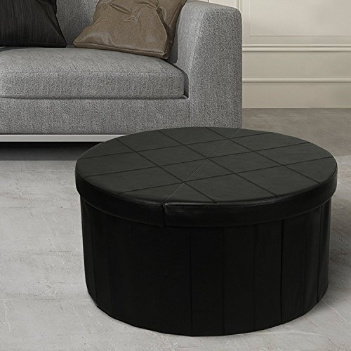 Leather Top Coffee Table - Otto & Ben Storage Ottoman Coffee Table with Smart Lift Top Folding Round Faux Leather Trunk Bench Foot Rest, 30