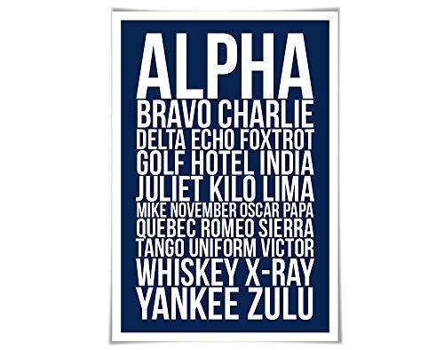 Alpha Bravo Charlie Art Print. 60 Colours/4 Sizes. Phonetic Alphabet Poster. Aviation. NATO. Military. Pilot Airplane Army