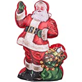 Outdoor Christmas Decorations Photorealistic Illustrated Santa with Gift Bag Inflatable