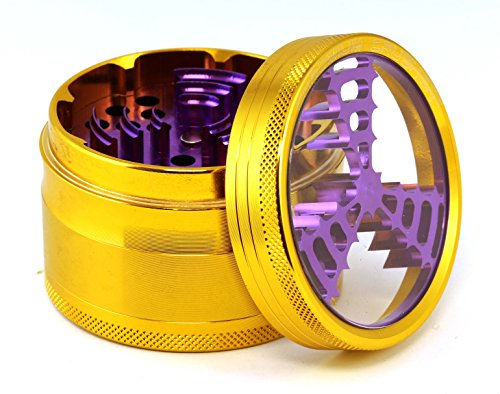 Chromium Crusher 2.5 Inch 4 Piece Tobacco Spice Herb Grinder - Pick Your Color (Windmill Teeth, Gold)