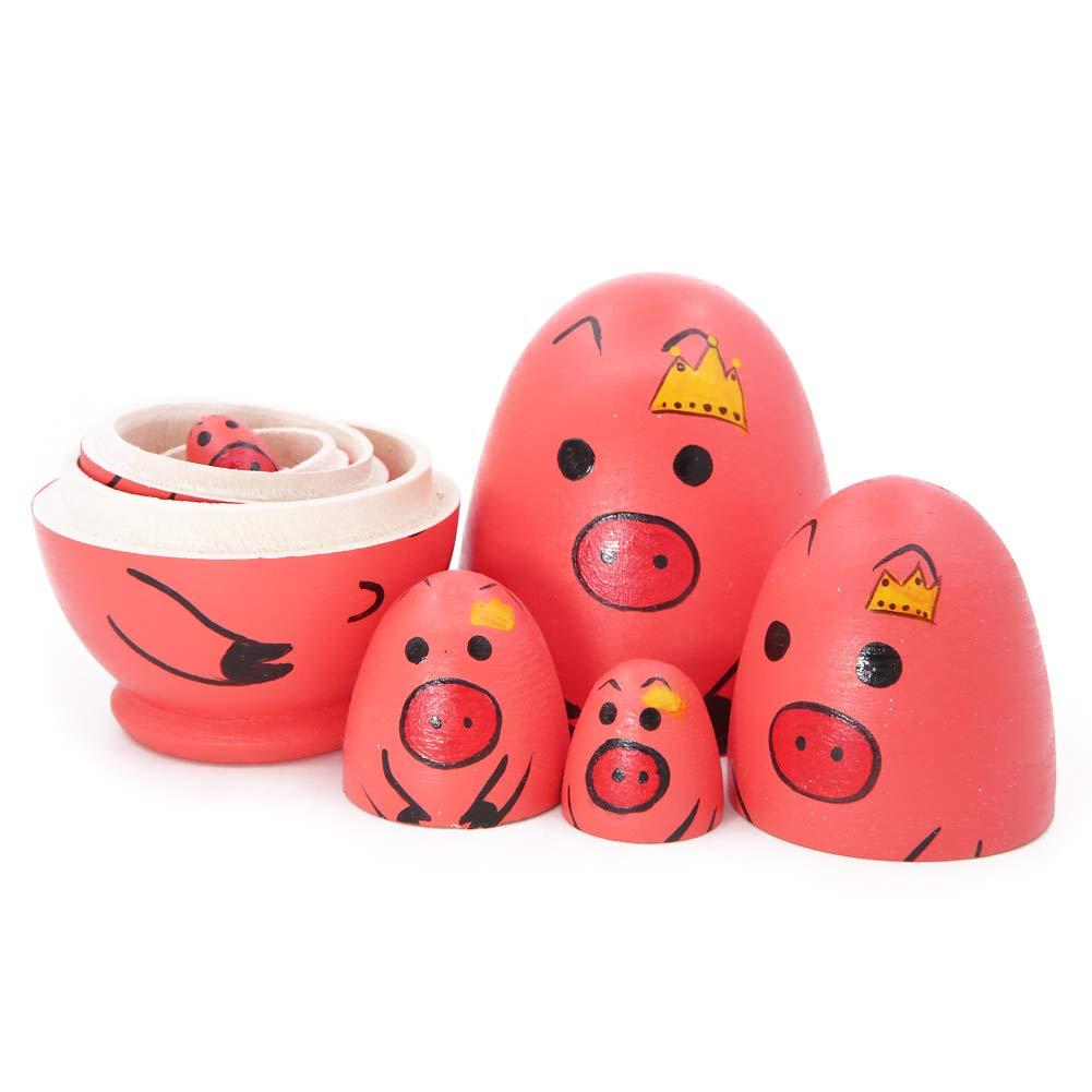 Winterworm Regalo de cumplea/ños o decoraci/ón del hogar Juego de 5 Piezas de mu/ñecas Rusas de Madera con Forma de Huevo y dise/ño de Cerdo Rojo y Rosa para ni/ños