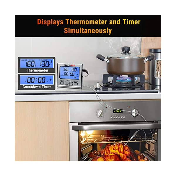 ThermoPro TP17 Termometro Cucina Digitale a Doppia Sonda con Modalità Timer e Display LCD per Cottura BBQ Alimenti Carne… 5