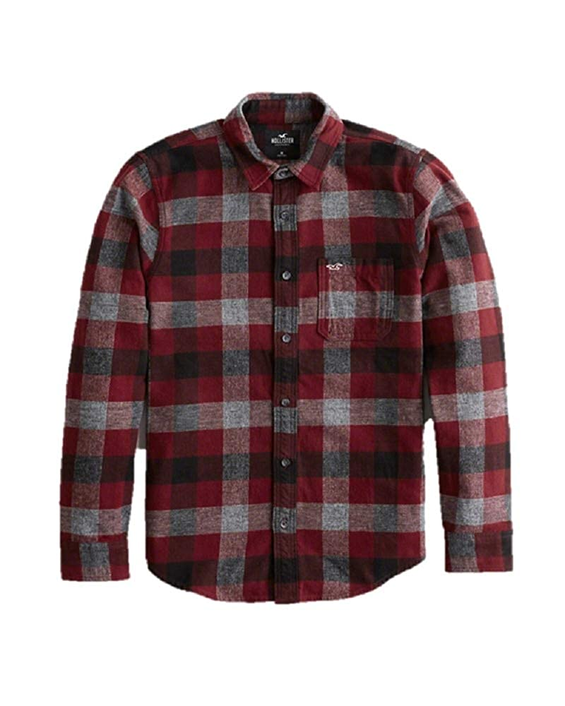 b2c2f4079 Hollister New Flannel Check Shirt RED Blue Shirt Men Collar Slim FIT Size:  Small/S: Amazon.co.uk: Clothing