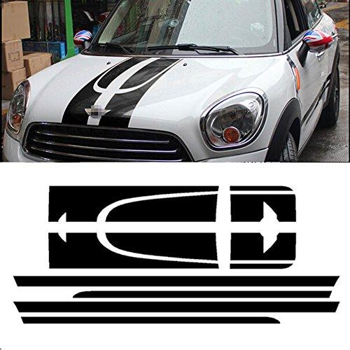 Charminghorse Car Side Racing Stripes Hood Trunk/Rear Bonnet Engine Cover Decal Sticker for MINI Cooper Countryman R60 2013-2016 ()