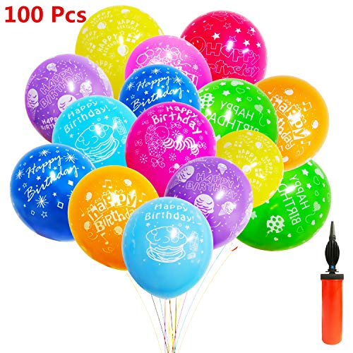 100 Pcs Thick Latex Happy Birthday Balloons with A Free Pump, Colorful Kids Party Balloons Decorations Supplies