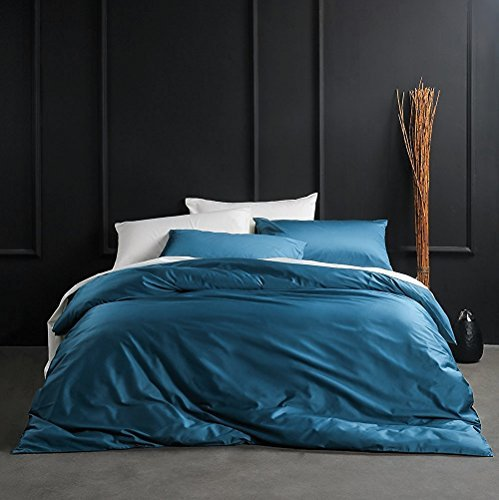 Solid Color Egyptian Cotton Duvet Cover Luxury Bedding Set High Thread Count Long Staple Sateen Weave Silky Soft Breathable Pima Quality Bed Linen (Queen, Ocean Teal) (Teal Queen Blue Comforter)