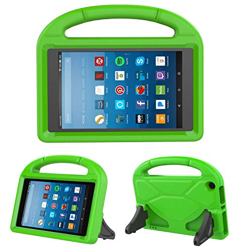 Kids Case for Fire HD 8 - TIRIN Light Weight Shock Proof Handle Kid -Proof Cover Kids Case for Amazon Fire HD 8 Tablet (7th and 8th Generation Tablet, 2017 and 2018 Release), Green (Kindle Fire Hd Kid Proof Case)