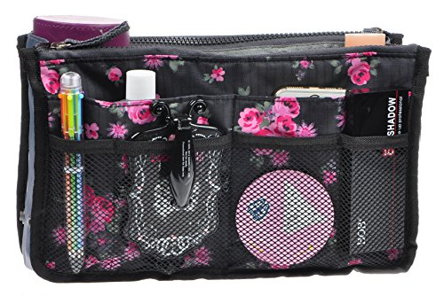 Purse Organizer,Insert Handbag Organizer Bag in Bag (13 Pockets 15 Colors 3 Size) (L, Black Red Flower)