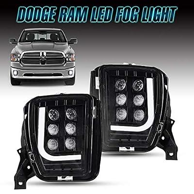 Dodge Ram LED Fog Lights with Daytime Running Lights, Clear Lens Fog Lamps for 2013 2014 2015 2016 2020 2020 Dodge Ram 1500: Automotive