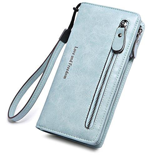 (Women Wallet Wristlet Leather Ladies Long Bifold Clutch Checkbook Credit Card Holder Organizer Purse Light Green)
