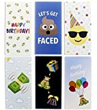 36 Pack Happy Birthday Money Greeting Cards Assortment - Money & Gift Card Holders Variety Pack - 6 Colorful Emoji Designs Poop Emoji - Bulk Box Cards Set of 36 with Envelopes - 3.5 x 7.25 Inches