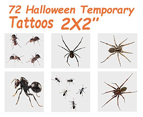 72 Halloween Temporary Tattoos, Ants & Spiders, 6 Assorted Designs,