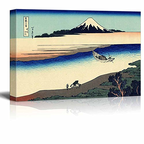 wall26 - Canvas Wll Art - Tama River in Musashi Province by Japanese Artist Hokusai - Thirty-six Views of Mount Fuji Series - Giclee Print and Stretched Ready to Hang - 16