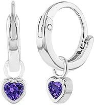 925 Sterling Silver CZ Heart Charm Baby Hoop Earrings Toddlers Girls 0.31&