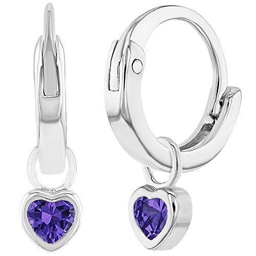 "925 Sterling Silver Purple CZ Heart Charm Baby Hoop Earrings Toddlers Girls 0.31"""