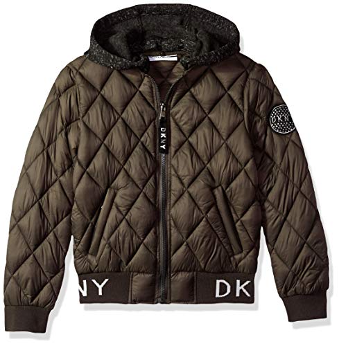 (DKNY Girls' Big Quilted Bomber Jacket with Fleece Hood, Olive,)