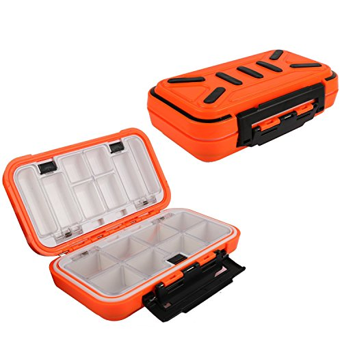 Goture Fishing-Lure-Boxes-Bait Tackle-Plastic-Storage, Small-Lure-Case, Mini-Lure-Box for Vest, Fishing-Accessories Large Boxes Storage Containers (Medium/Orange)
