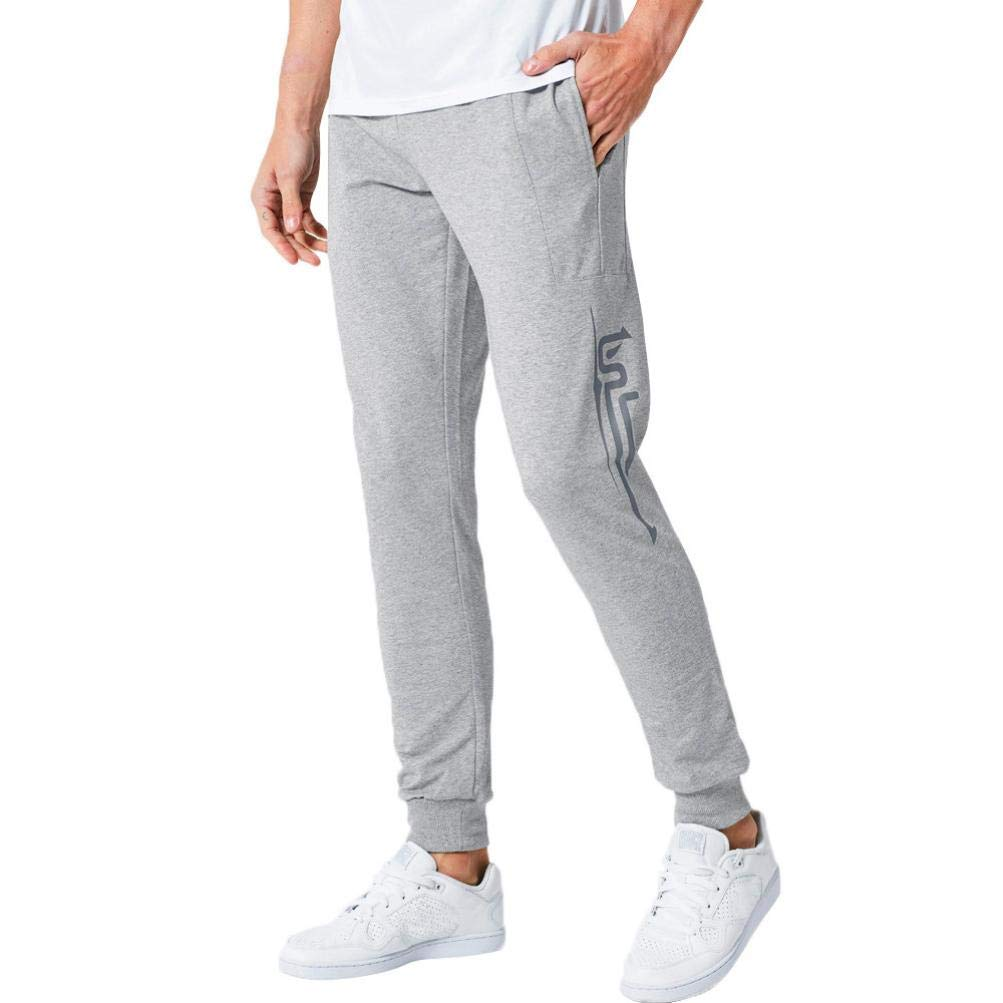 Realdo Clearance Casual Slim Personality Solid Elastic Print Sports Run Jogger Pants Mens Trousers(Medium,Grey)