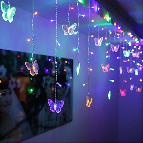 BCKAKQA Lichterkette 1,5 m x 0,5 m 48 LED Schmetterling Vorhang Lichter USB 8 Modi Indoor Outdoor Lichterkette für Party Hochzeit Weihnachten Urlaub Dekoration Beleuchtung (farbig)