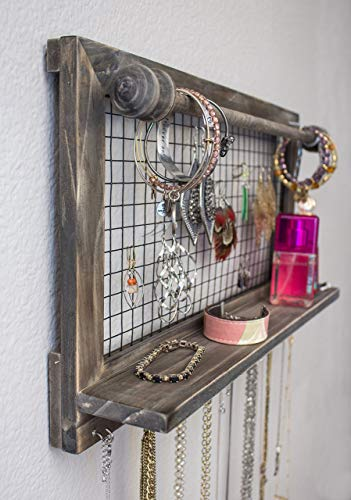SoCal Buttercup Rustic Brown Jewelry Organizer with Removable Bracelet Rod from Wooden Wall Mounted Holder for Earrings Necklaces Bracelets and Other Accessories by SoCal Buttercup (Image #8)