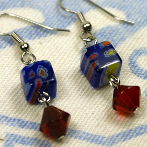 Blue Millefiori Earrings with Red (Millefiori Blue Heart Earrings)