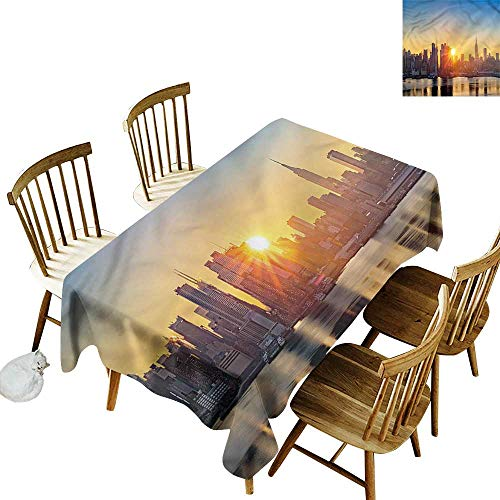 Water Resistant Table Cloth City Tranquil Sunrise Midtown Party Decorations Table Cover Cloth 60